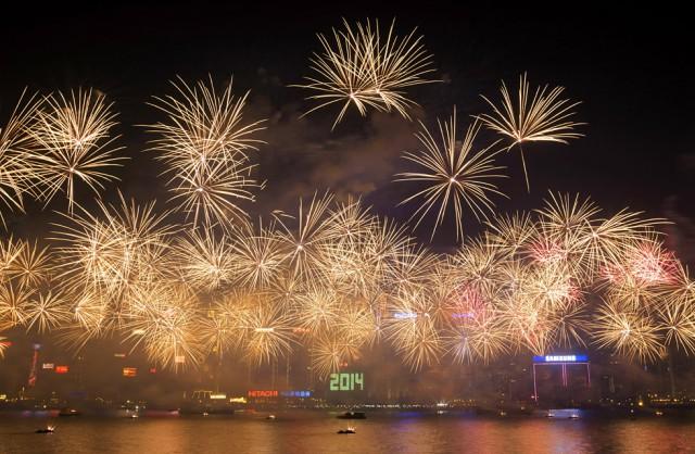 Fuegos artificiales en Hong Kong (China). By ALEX OGLE (AFP)