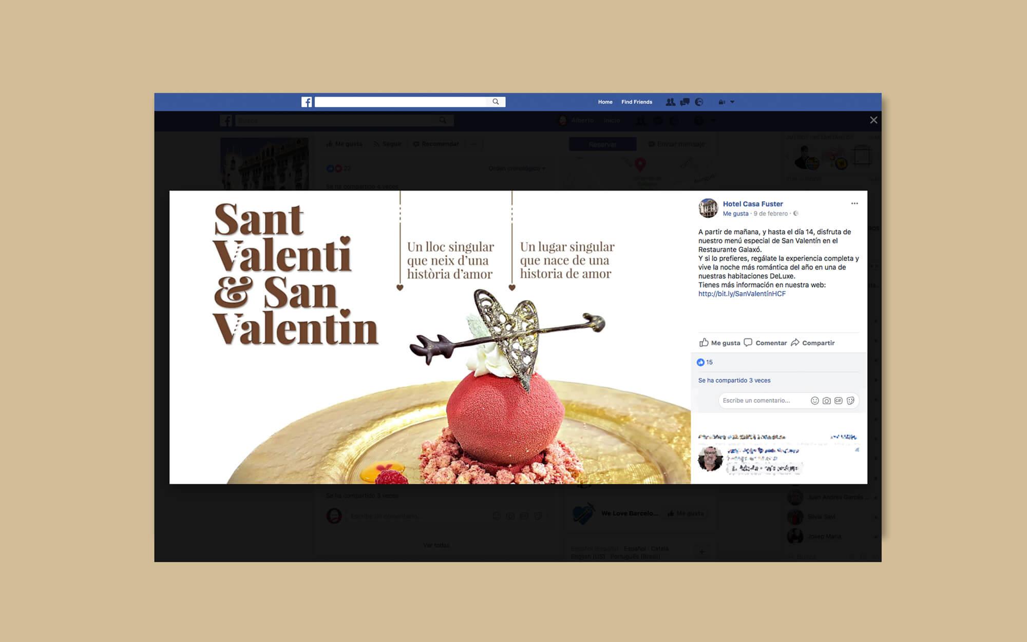 Hotel Casa Fuster, Hotel, Barcelona, Sant Valentí, Newsletter, la Negreta, Disseny Gràfic, Barri de Gràcia, Digital, Comunicació, Mailchimp, Facebook