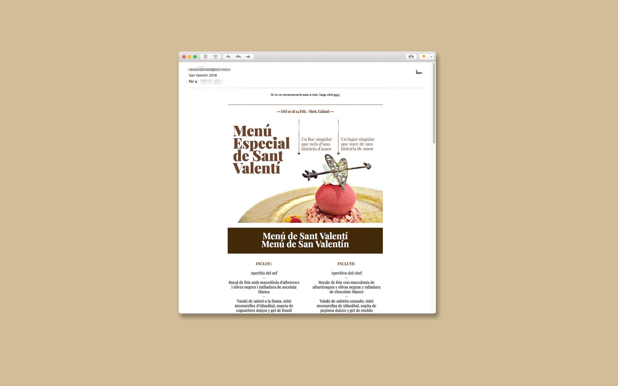 Hotel Casa Fuster, Hotel, Barcelona, Sant Valentí, Newsletter, la Negreta, Disseny Gràfic, Barri de Gràcia, Digital, Comunicació, Mailchimp, Email