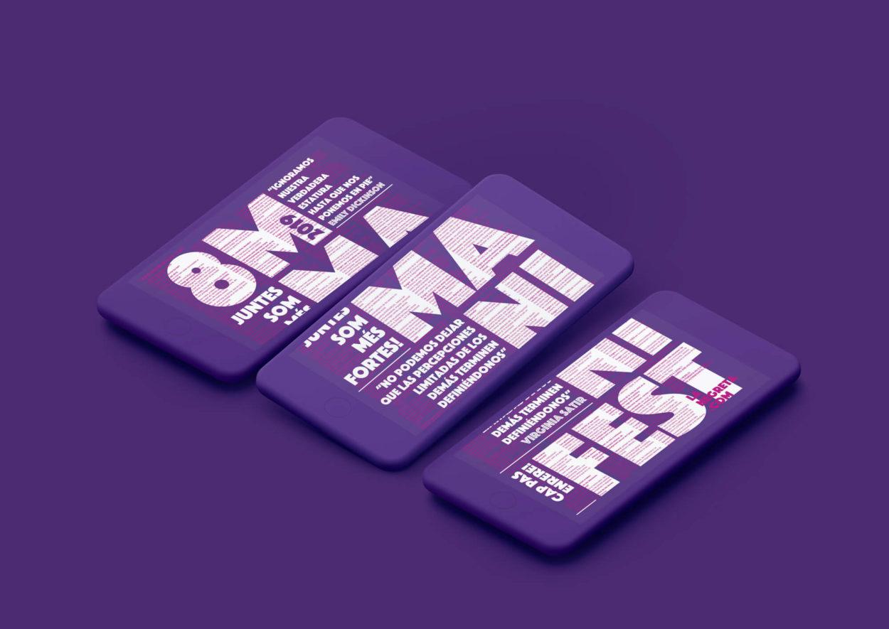 Manifest, Barcelona, Disseny Gràfic, Art Direction, Direcció d'art, 8M, Feminisme, Feminista, Manifestació, la Negreta, Mòbil,