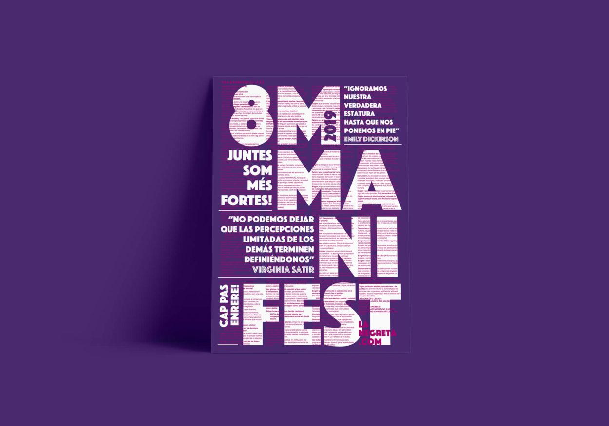 Barcelona, Disseny Gràfic, Art Direction, Direcció d'art, 8M, Feminisme, Feminista, Manifestació, la Negreta, Mòbil,